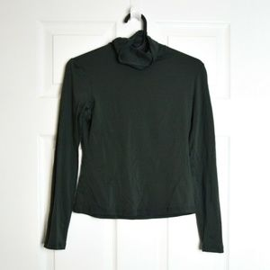 Theory Green Jersey Mock Neck Knit Top S/XS